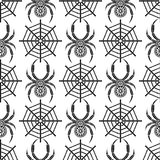 Seamless vector pattern with insects, symmetrical background with decorative black closeup spiders, over white backdrop with spide Stock Images