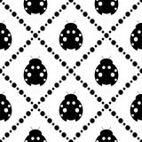 Seamless vector pattern with insects, symmetrical background with decorative closeup black and white ladybugs Stock Photo