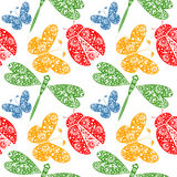 Seamless vector pattern with insects, symmetrical background with decorative dragonflies, ladybugs and butterlies, Royalty Free Stock Photo