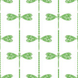 Seamless vector pattern with insects, symmetrical background with decorative dragonflies and lines Royalty Free Stock Photos