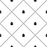 Seamless vector pattern with insects, symmetrical background with decorative little black and white ladybugs and rhombus Stock Photos