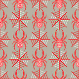 Seamless vector pattern with insects, symmetrical background with decorative red closeup spiders, over grey backdrop with red spid Stock Image