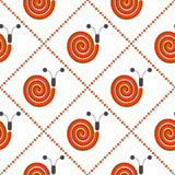 Seamless vector pattern with insects, symmetrical background with decorative red snails and rhombus, on the white backdrop Royalty Free Stock Photos