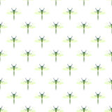 Seamless vector pattern with insects, symmetrical background with dragonflies, over white backdrop Stock Images
