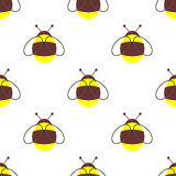 Seamless vector pattern with insects. Symmetrical background with little bees on the white backdrop Stock Photo