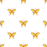 Seamless vector pattern with insects, symmetrical  background with orange butterflies on the white backdrop Royalty Free Stock Image