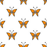 Seamless vector pattern with insects, symmetrical background with red butterflies. Decorative repeating ornament Stock Photos