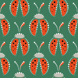 Seamless vector pattern with insects, symmetrical background with red decorative  closeup ladybugs,  on the green backdrop. Royalty Free Stock Photography
