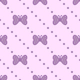 Seamless vector pattern with insects, symmetrical background with violet butterflies and dots on the pink backdrop Stock Photography