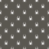 Seamless vector pattern with insects, symmetrical background with white spiders, over dark grey backdrop Royalty Free Stock Image