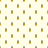 Seamless vector pattern with insects, symmetrical background with yellow wasps on the light backdrop Stock Images