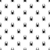 Seamless vector pattern with insects, symmetrical  black and white background with black spiders, over white backdrop Royalty Free Stock Photos