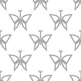 Seamless vector pattern with insects, symmetrical black and white background with butterflies Stock Photography