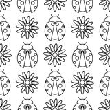 Seamless vector pattern with insects, symmetrical  black and white background with ladybugs and daisies.  Stock Photo