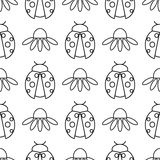 Seamless vector pattern with insects, symmetrical  black and white background with ladybugs and daisies Royalty Free Stock Photos