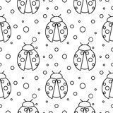 Seamless vector pattern with insects, symmetrical  black and white background with ladybugs and dots Stock Photos