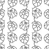 Seamless vector pattern with insects, symmetrical black and white background with ladybugs and snails Stock Photos