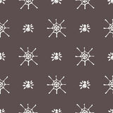 Seamless vector pattern with insects, symmetrical black and white background with  spiders and spiders web Royalty Free Stock Image