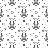 Seamless vector pattern with insects, symmetrical  black and white background with wasps and dots Stock Photography