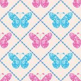 Seamless vector pattern with insects, symmetrical blue and pink background with butterflies. Decorative ornament Stock Photography