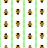Seamless vector pattern with insects, symmetrical geometric bcolorful background with ladybugs. Decorative repeating ornament Royalty Free Stock Photos