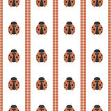 Seamless vector pattern with insects, symmetrical geometric black and red background with ladybugs. Decorative repeating ornament Royalty Free Stock Photos