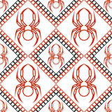 Seamless vector pattern with insects, symmetrical geometric black and red background with spiders. Decorative repeating ornament Stock Photo