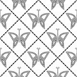 Seamless vector pattern with insects, symmetrical geometric black and white background with butterflies. Decorative repeating orna Stock Photos