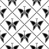 Seamless vector pattern with insects, symmetrical geometric black and white background with butterflies. Decorative repeating orna Stock Images
