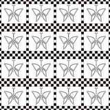 Seamless vector pattern with insects, symmetrical geometric black and white background with butterflies. Decorative repeating orna Royalty Free Stock Image