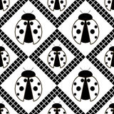 Seamless vector pattern with insects, symmetrical geometric black and white background with ladybugs. Decorative repeating ornamen Stock Photo