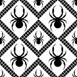 Seamless vector pattern with insects, symmetrical geometric black and white background with spiders. Decorative repeating ornament Royalty Free Stock Image