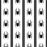 Seamless vector pattern with insects, symmetrical geometric black and white background with spiders. Decorative repeating ornament Royalty Free Stock Photo
