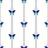 Seamless vector pattern with insects, symmetrical geometric blue background with butterflies. Decorative repeating ornament Royalty Free Stock Photography
