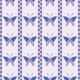 Seamless vector pattern with insects, symmetrical geometric blue background with butterflies. Decorative repeating ornament Stock Photography