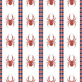 Seamless vector pattern with insects, symmetrical geometric blue and red background with spiders. Decorative repeating ornament. Royalty Free Stock Photos