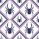 Seamless vector pattern with insects, symmetrical geometric blue and violet background with spiders. Decorative repeating ornament Stock Photos