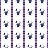 Seamless vector pattern with insects, symmetrical geometric blue and violet background with spiders. Decorative repeating ornament Royalty Free Stock Image