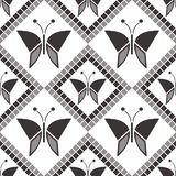 Seamless vector pattern with insects, symmetrical geometric grey background with butterflies. Decorative repeating ornament Stock Image