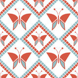 Seamless vector pattern with insects, symmetrical geometric red background with butterflies. Decorative repeating ornament Royalty Free Stock Images