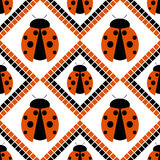 Seamless vector pattern with insects, symmetrical geometric red background with ladybugs. Decorative repeating ornament Stock Photography