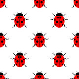 Seamless vector pattern with insects, symmetrical  laconic background with bright ladybugs, over white backdrop Royalty Free Stock Images