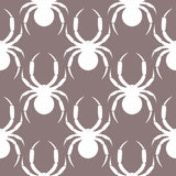 Seamless vector pattern with insects, symmetrical  pastel background with white spiders, over grey backdrop Royalty Free Stock Photos