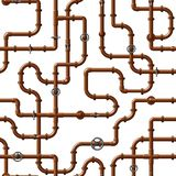 Seamless vector pattern of interlocking copper water pipes with valves royalty free illustration