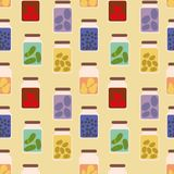 Seamless vector pattern with jars full of preserved fruits and veggies vector illustration