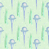 Seamless vector pattern with  jellyfish,  seaweed and bubbles on the light blue background Royalty Free Stock Image