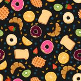 Seamless vector pattern with kawaii breakfast things on black background perfect for wrapping paper backgrounds etc royalty free stock photo