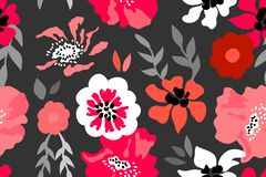 Red, pink and grey floral composition. Seamless vector pattern with large flowers and leaves inspired by 1950s design stock illustration