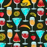 Seamless vector pattern with lemon and cocktail Stock Photo