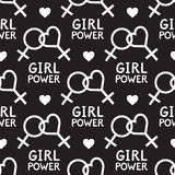 Seamless vector pattern with lesbian and feminist symbols. Royalty Free Stock Image